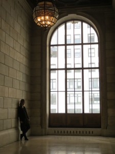 Cool marble walls speak volumes in New York City's Central Library (Photo Credit: M.Kopp)