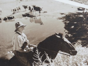 An interpretive sign photo of Josie at her ranch.
